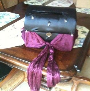 Black Burgundy Card Chest Box Wedding Party Swarovski Crystals