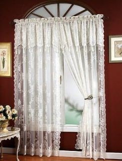 Carly Lace Curtain Panel with Attached Valance & Tassels by