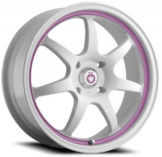 16 KONIG FORWARD WHITE PINK RIMS WHEELS 16x7 +40 5x114.3 CIVIC RSX MX5