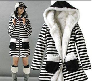 New Womens Zebra Hoodies Zipper Long Sleeve Fluffy Sweater Coat Jacket