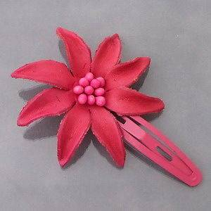 Handmade Pretty Pink Star Flower Genuine Real Leather Snap Hair Clip
