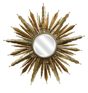 Large Round Metal Sunburst WALL MIRROR 38 Starburst Antique Gold NEW