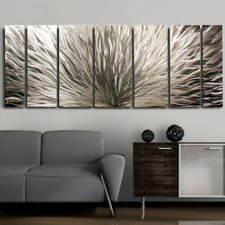 Modern Abstract Metal Wall Art Decor Sculpure Silver Plumage Jon