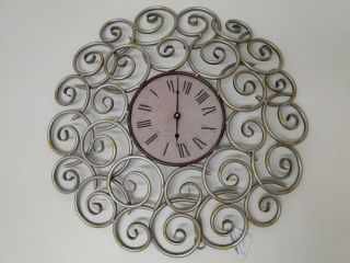 ENT Contemporary Large Modern Swirl Metal Wall Clock 19 Inch Diameter