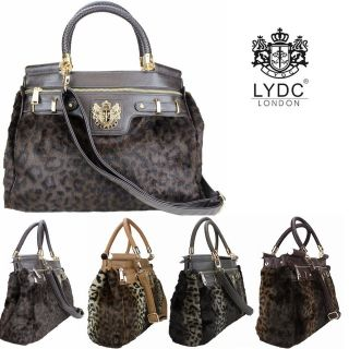 Women LYDC Leopard Animal Print Faux Fur Vintage Leather Style Laptop