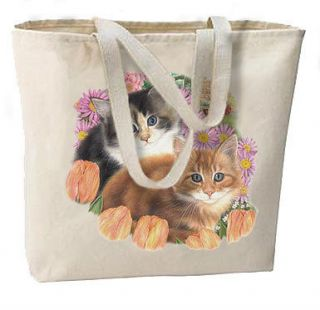 SPRINGTIME KITTENS Cats New Oversize Canvas Tote Bag FREE SHIP USA