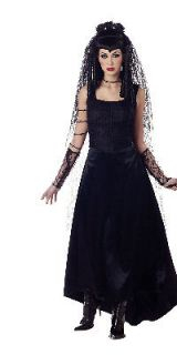 Gothic Bride Costume Black Widow Underworld Persephone Veil & Barb