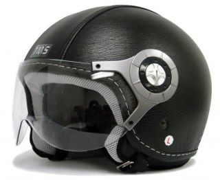 BLACK LEATHER MOTORCYCLE OPEN FACE JET PILOT HELMET ~L