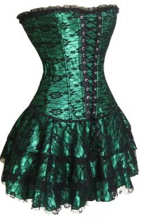 Colors sexy plastic boned Lace up back Corset Bustier + Mini Skirt