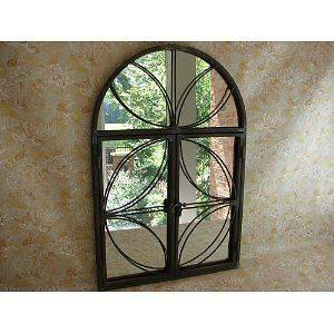 Shabby Cottage Chic Rustic Look Hanging Metal Mirror with Doors that