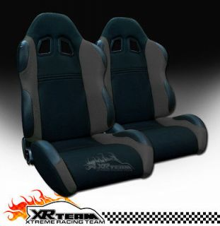 2x Universal LH+RH Blk/Grey Fabric & PVC Leather Sport Racing Seats