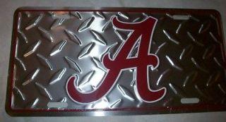 Crimson Tide Aluminum Embossed License Plate Diamond Plate Tag New
