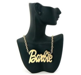 Mirror Polished Gold BARBIE Pendant Necklace Double Layered Chain