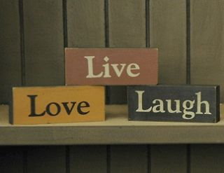 Primitive Wooden Live Laugh Love Blocks Set of 3