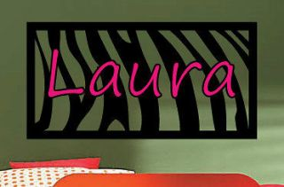 Zebra Print Personalized Name two colors kids vinyl wall art decal