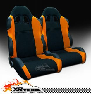 2pc LH+RH JDM Blk/Orange Fabric & PVC Leather Racing Bucket Seats