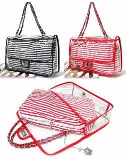 Vacation Clear Plastic Beach Chain Shoulder Bag,Hand Bag(Cotton Pouch