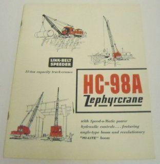 Link Belt Speeder 1961 HC 98A Truck Crane Sale Brochure