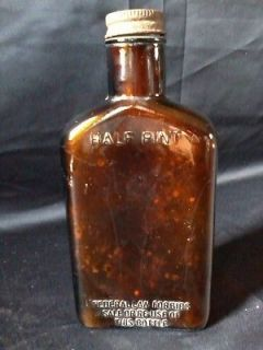 ANTIQUE Brown Glass HALF PINT LIQUOR Bottle with ORIGINAL Cap