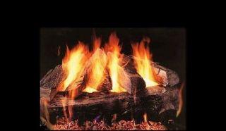Oak Vented Fireplace Gas Logs COMPLETE Set W/ Auto Start Pilot NG LP