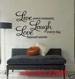 Wall Decor laugh every day love beyond words Decal sticker Removable