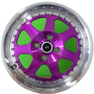 15 ROTA J MAG RIMS WHEELS PURPLE 15x7 +40 4x100 FITS CIVIC INTEGRA
