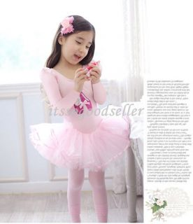 Girl Party Long Sleeve Leotard Ballet Tutu Dance Shoes Costume Dress 3