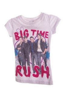 Nickelodeon Girls Big Time Rush SS Concert T Shirt White Pink Size XS