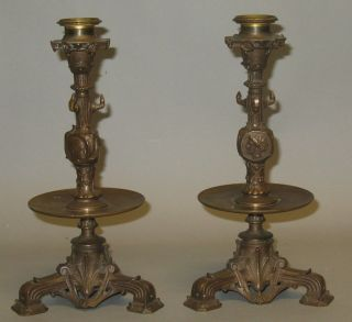Antique French Barbedienne Bronze Candle Holders c. 1870