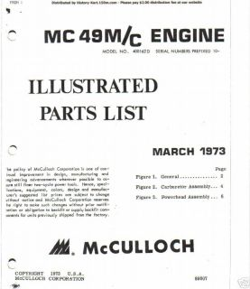MCCULLOCH kart engine mc  49 PARTS MANUAL CD FREE SHIPPING