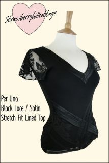 Ex Per Una black stretch fit lined top with satin and floral lace trim