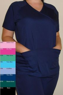 New Women Medical Scrubs Set Mock Wrap Navy Blue Ceil Turquoise