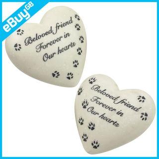 GRAVE HEART STONE   CAT & DOG PAW MEMORIAL GRAVESIDE ORNAMENT / MARKER