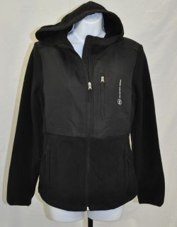NEW Free Country Womens Hooded Microtech Fleece Jacket Black