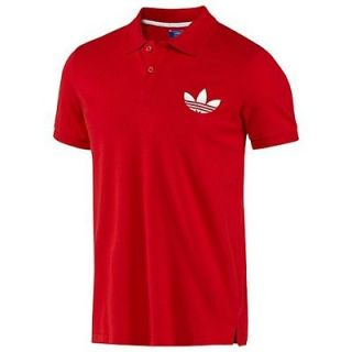 Mens Adidas Originals Pique Polo Golf Shir Big refoil Logo Red New L