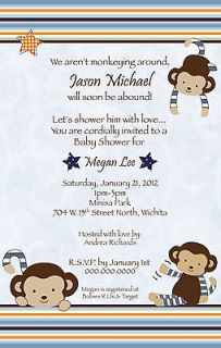 Monkey Mania Baby Shower Invitation   YOU PRINT Fast Turnaround