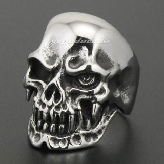 Cool 316L Stainless Steel Skull Men`s Biker Ring 2W040 Biker Jewellery