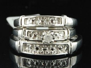 Mens Ladies White Gold Finish Diamond Engagement Ring Wedding Band