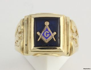 Syn Blue Spinel Masonic Blue Lodge Ring  10k Yellow Gold Solid Back