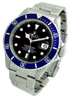Mens Rolex Submariner Blue Bezel Steel Watch 16610 w/ Wood Display