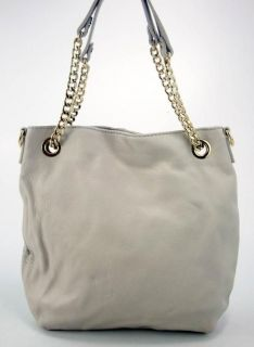 Michael Kors Womens Handbag Vanilla Genuine Leather Chain Tote