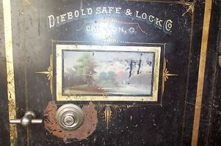 ORIGINAL ANTIQUE DIEBOLD DOUBLE DOOR FLOOR SAFE