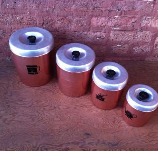 WEST BEND ALUMINUM METAL CANISTER SET 4 FLOUR SUGAR COFFEE TEA