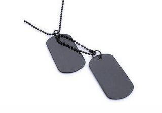 Army Style Cool Black Blank 2 Dog Tag Mens Pendant Necklace P503