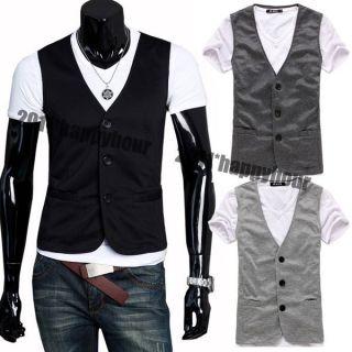 NWT Mens Casual Three Buttons Slim Fit Waistcoat Dress Vest Tank Shirt