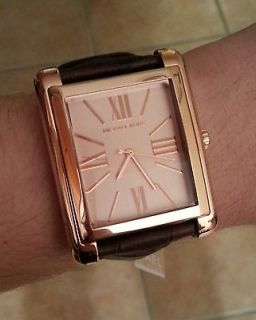 MICHAEL KORS Rose Gold Oversized Unisex Watch Brown Leather Croc Strap