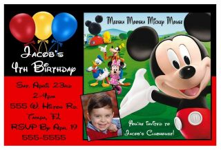 MICKEY MOUSE CLUBHOUSE BIRTHDAY PARTY INVITATIONS W/PIC