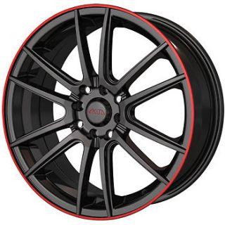 16x7 Black Red Wheel Akita AK77 5x105 5x112