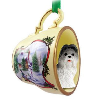 Shih Tzu Dog Christmas Holiday Teacup Ornament Figurine Gray/Wht