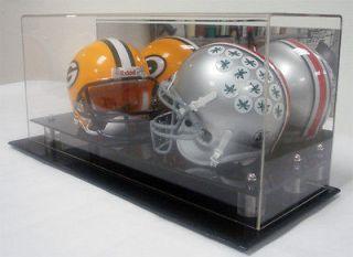 MINI DOUBLE NFL NCAA FOOTBALL HELMET DISPLAY CASE BOX